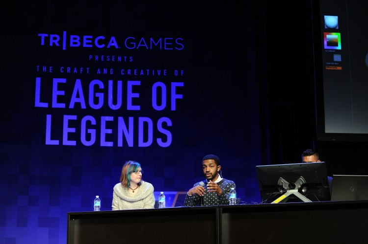NEW YORK, NY - NOVEMBER 13: Shannon Berke, Evan Monteiro and Josh Singh speak at the Tribeca Games Presents The Craft And Creative Of League Of Legends on November 13, 2015 in New York City. (Photo by Craig Barritt/Getty Images for Tribeca Games)