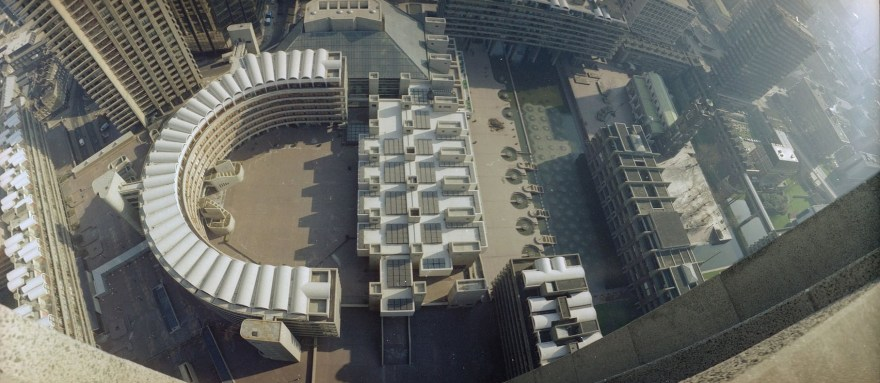 Panoramic view of the Barbican (February 1982)