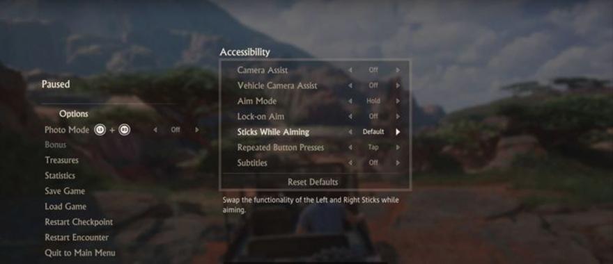 uncharted menu