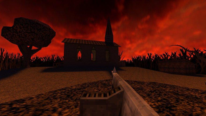 Dusk 2017 FPS rifle church red sky