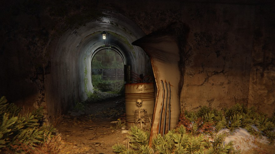 a skeleton beside a tunnel entrance