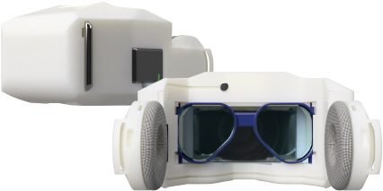 An image of the VR goggles from the Dentsu ScienceJam Brainwave VR event from Tokyo Game Show.