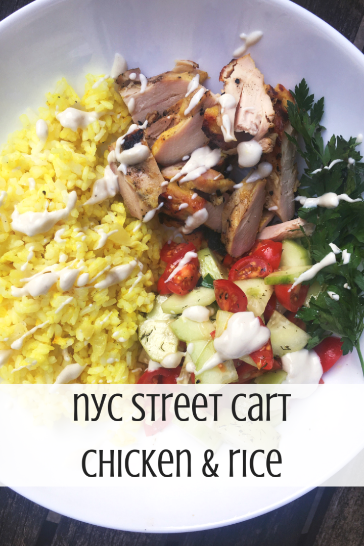 This healthier version of street cart chicken & rice is an excellent to your weekly meal rotation. It's quick, easy, full of flavor, and nutrition so you - and your whole family! - will love it.
