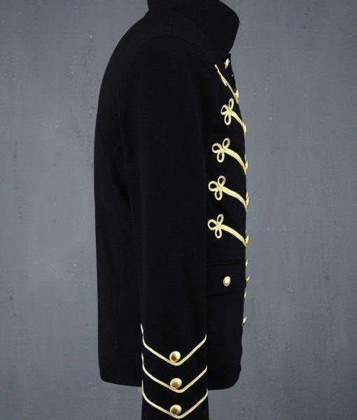 c609e99c540 Gold Embroidery Black Military Napoleon Hook Jacket