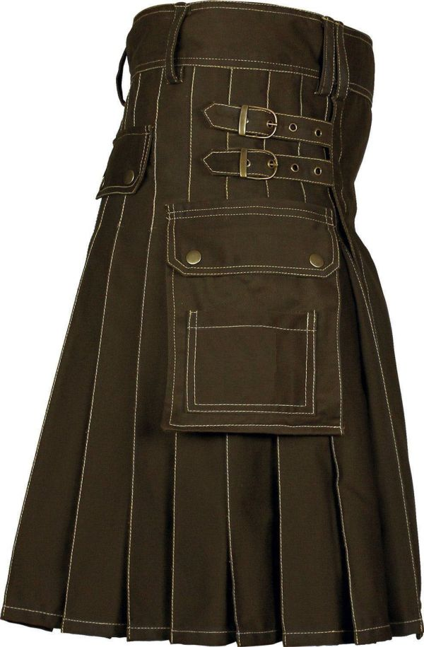Handmade-Brown-Deluxe-Utility-Fashion-Kilt-Side