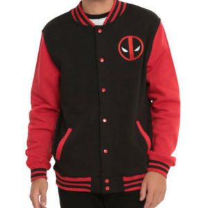 Marvel Deadpool Men's Varsity Letterman Snap Jacket