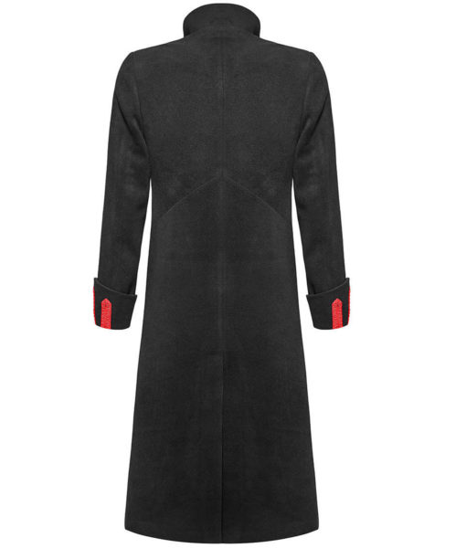 Men Military Long Coat Jacket Black Red Goth Steampunk Regency Aristoc (3)