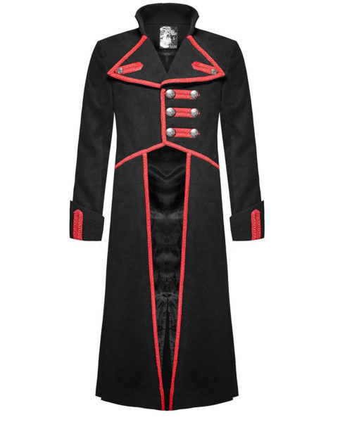 Men Military Long Coat Jacket Black Red Goth Steampunk Regency Aristoc (4)