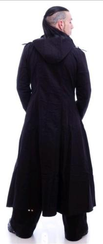 Men-black-hooded-trench-coat-goth-punk-Long-Jacket-custom-back