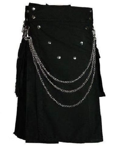 Men-handmade-Black-Deluxe-utility-fashion-kilt-Cotton-with-Chrome-Chain-Front