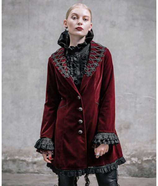 akacia-womens-jacket-frock-coat-red-velvet-goth-steampunk-front-510×600