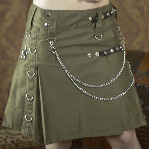 olive-green-drilled-cotton-fashion-utility-kilts-women-front