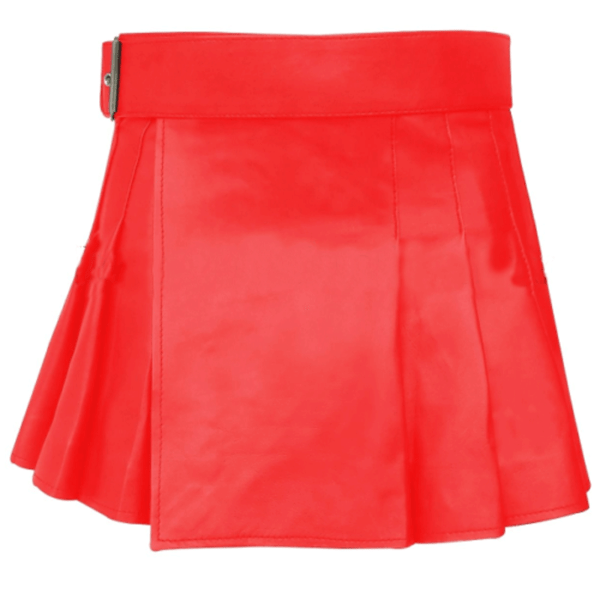 short-mini-red-leather-kilt-front