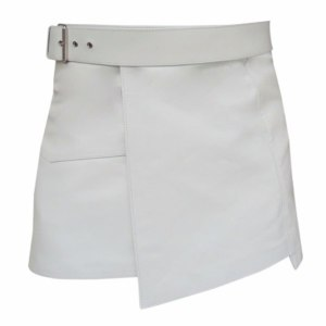 Short Mini White Leather Kilt Gladiator Style