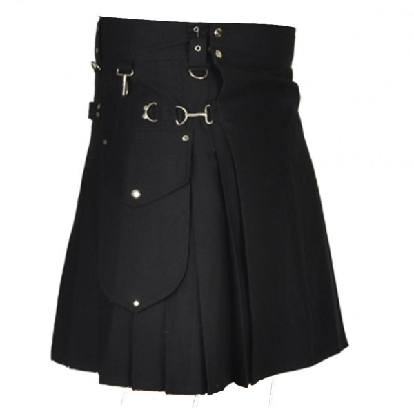 stylish-black-utility-kilt-front