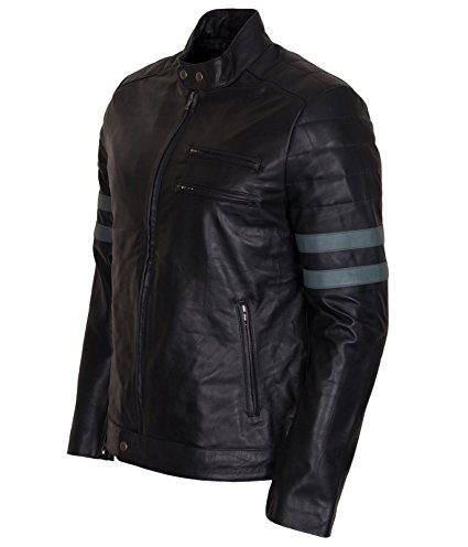 Men Retro Hybrid Mayhem Brad Pitt Black Genuine Leather Jacket (4)