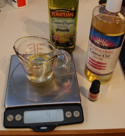 Measureing out oils by weight
