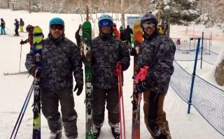 Paul, Jon and James skiing
