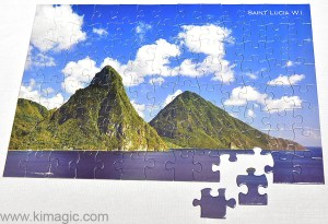 Assembled Saint Lucia double sided puzzle