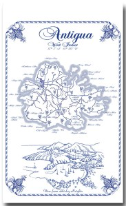 Antigua Map Blue Linen 100% Towel collectable by KiMAGIC