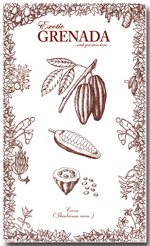 Grenada Cocoa 100% Linen Kitchen Towel collectable by KiMAGIC