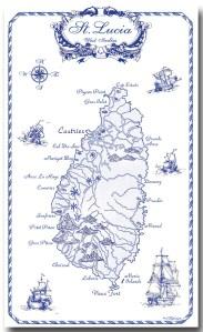 100% Linen Kitchen Tea Towel St. Lucia gift, blue on white, map, nautical, ships