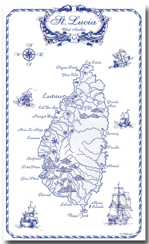 100% Linen Kitchen Tea Towel St. Lucia gift, blue on white, map, nautical, ships