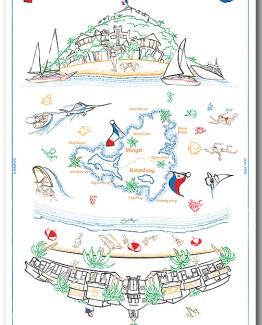 100% Linen Kitchen Towel St. Maarten St. Martin Souvenir color flags boats funny