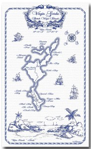 100% Linen Kitchen Tea Towel Map of Virgin Gorda, blue on white, nautical