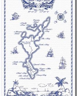 100% Linen Kitchen Tea Towel Map of Virgin Gorda, blue on white, nautical