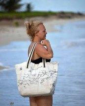 Islands Canvas Beach Bag, Happy Barracuda