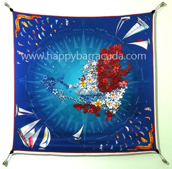 "Silk Scarf Sint Maarten 35"" x 35"" 100% silk, navy , red white, sailboats, map, nautical, souvenir, gift"