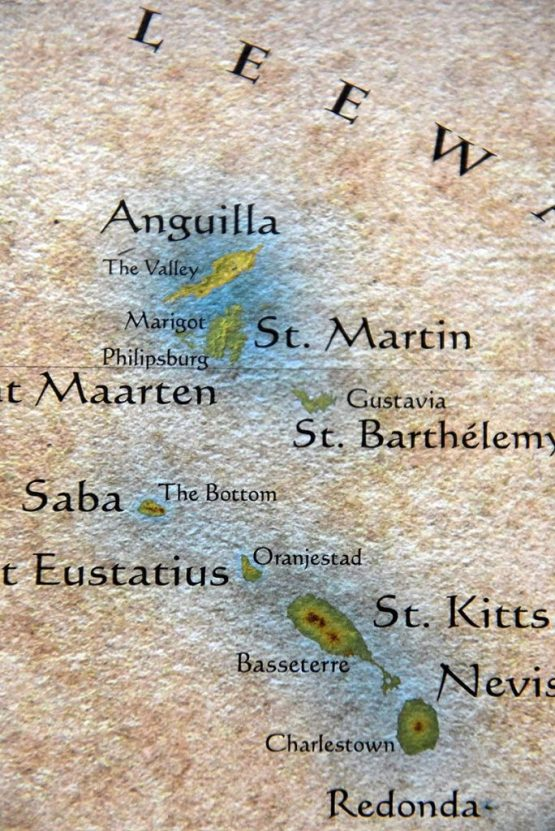 Details on Caribbean Islands Map featuring islands