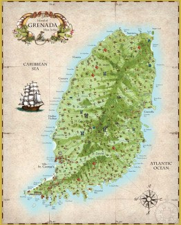 "Map of Grenada West Indies, 16"" x 20"" (40cm x 50cm)"