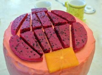 """Dragon Fruit cake with """"Lantern"""" design"""