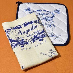 Linen Tea Towel Potholder Kitchen Set Nautical Style