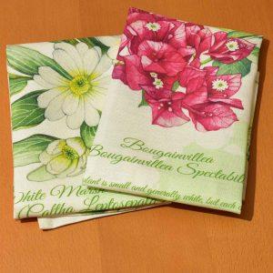 Linen Dish Towels Set Tropical Flowers Caribbean