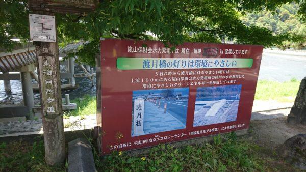 嵐山の水力発電の説明