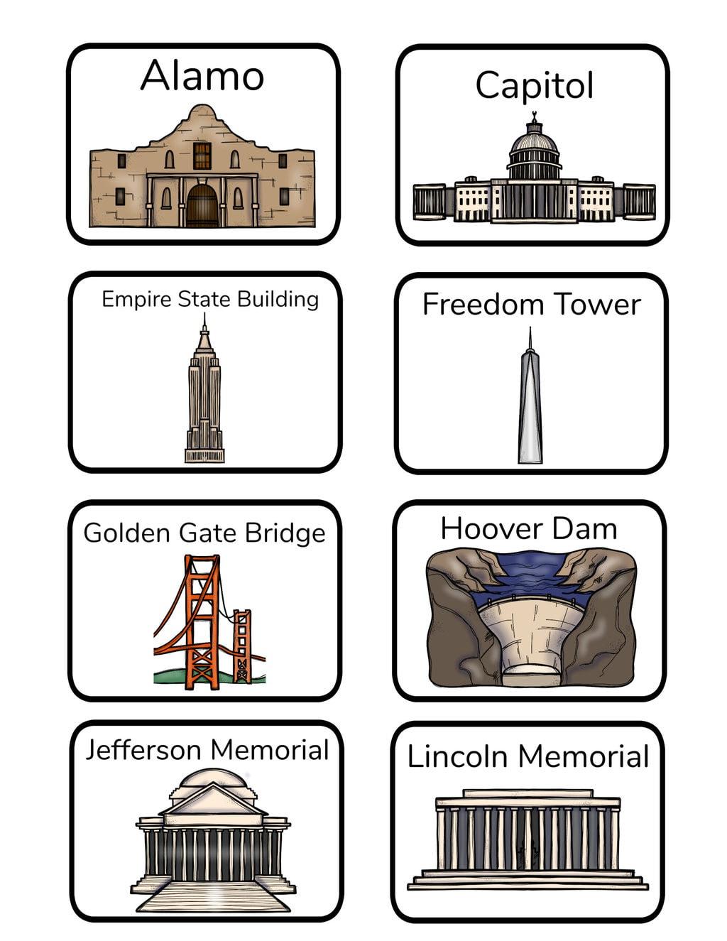 U S National Landmarks Memory Matching Game And