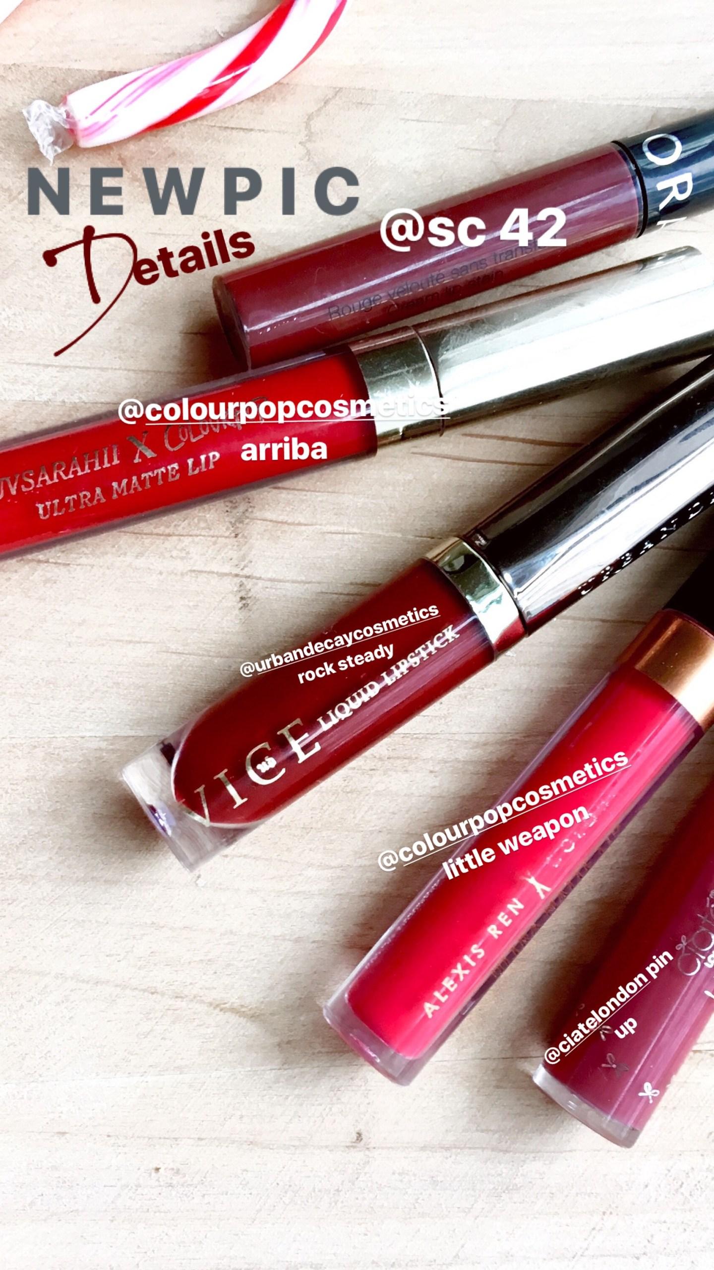 red christmas liquid lipsticks