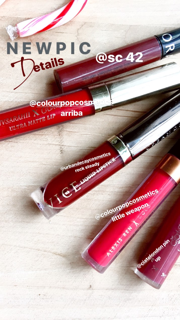 red christmas liquid lipsticks