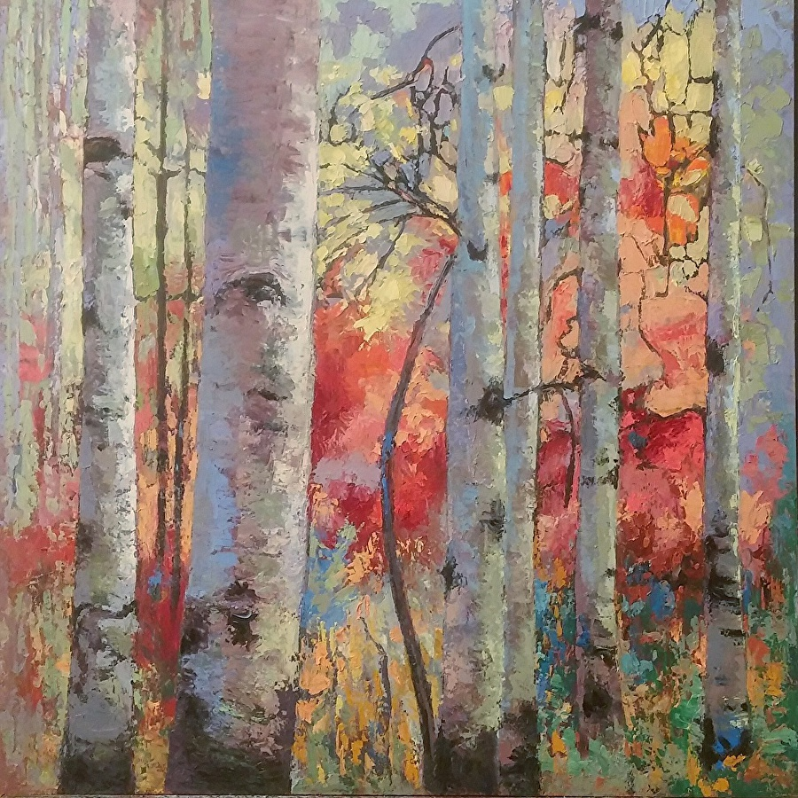 LaRae - Aspens in Red and Gold 24x24 Oil with Palette knife 2600.00