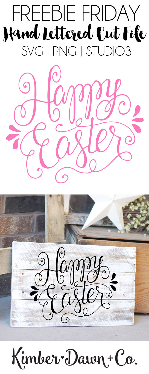 Hand Lettered Happy Easter Free SVG Cut File. Also available as a PNG and .Studio3. | kimberdawnco.com