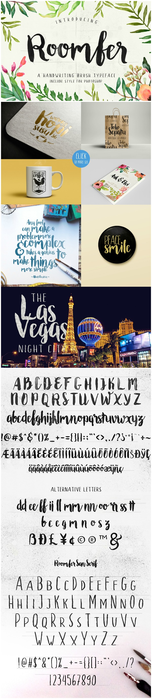 Font Favortites: Roomfer font is a great casual brush script font. iIt is bold but unassuming and pairs well with more delicate fonts.