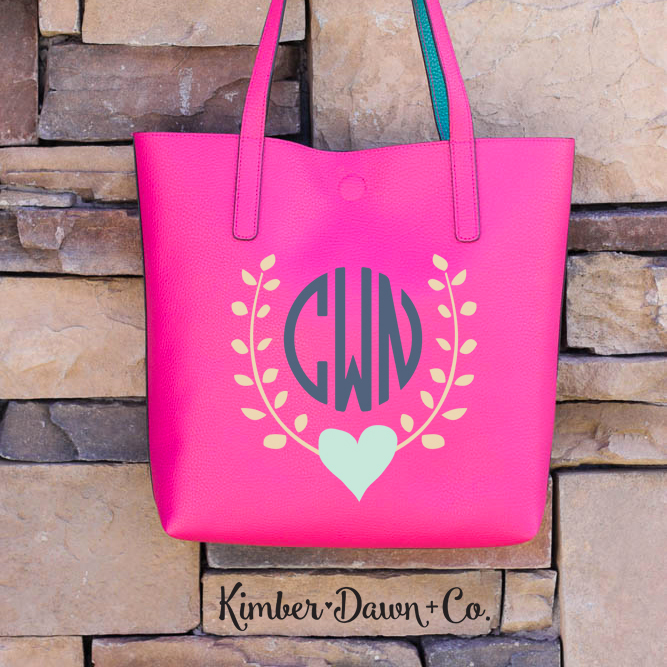Heart Garland Monogram Free Cut File