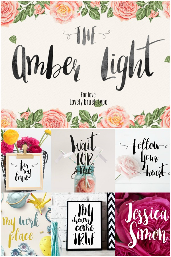 Amber light font- Perfectly imperfect! This hand lettered look brush font is one of my go tos!
