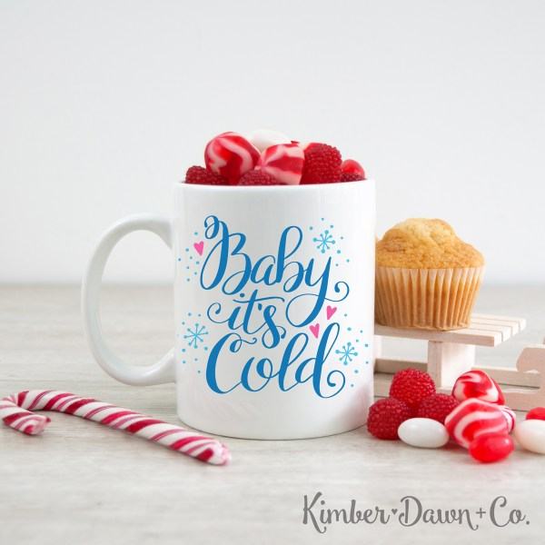 Hand Lettered Baby It's Cold Free SVG Cut File | KimberDawnCo.com
