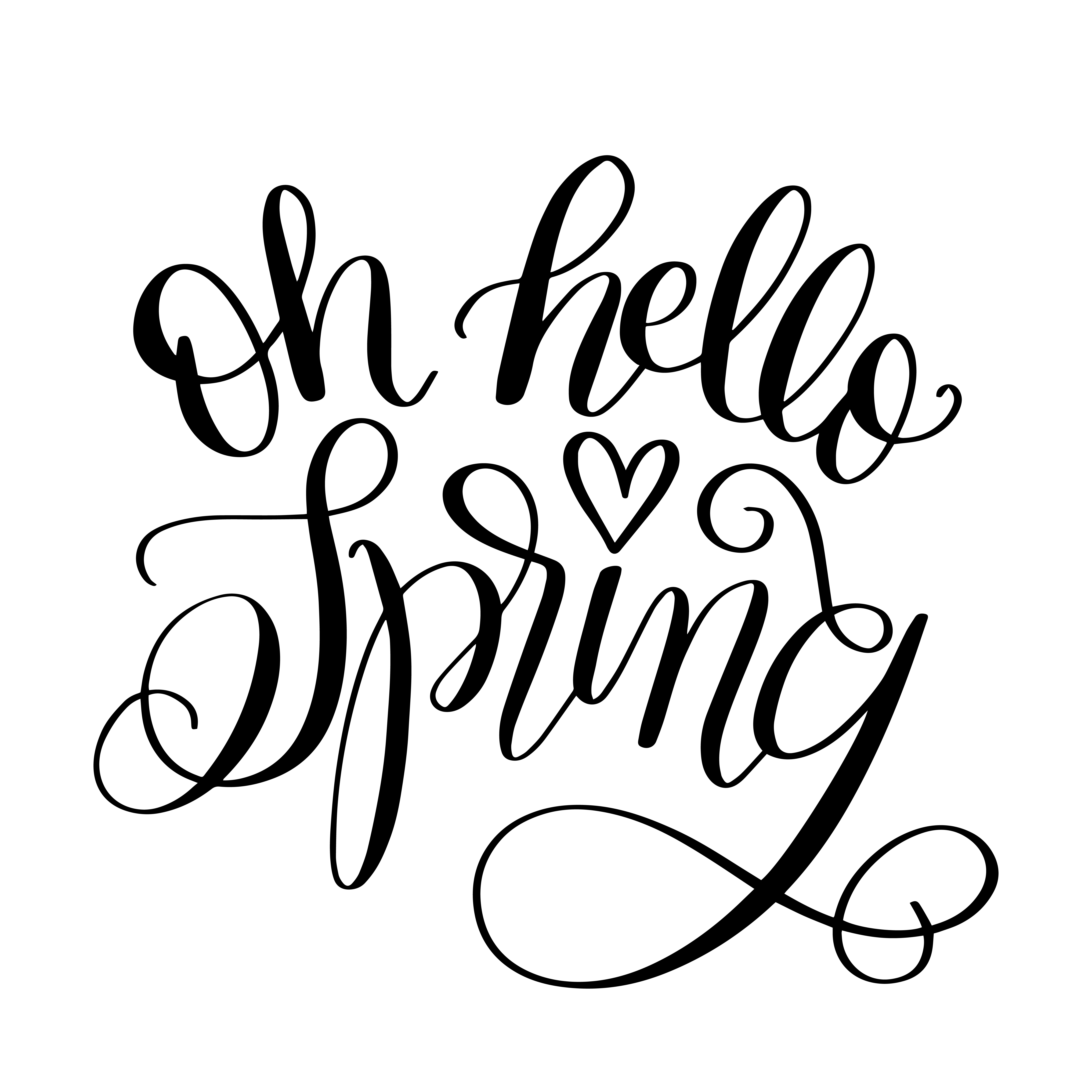 Hand Lettered Oh Hello Spring Free Svg Cut File