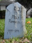 Tombstone for Milo Rambaldi - a prominent character in the TV show Alias.