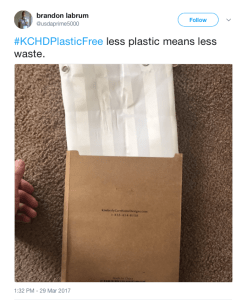 twitter post featuring kimberly-carr home designs plastic free packaging
